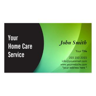 Cartão Home verde abstrato de Businss dos cuidados Cartão De Visita