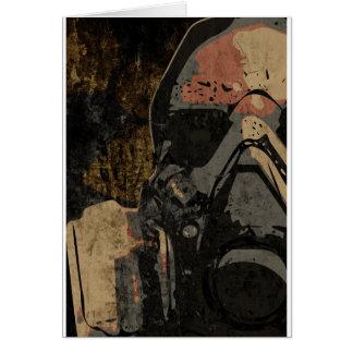 Cartão Homem com máscara protetora na placa de metal