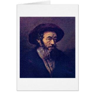 Cartão Homem com uma barba. Pelo seguidor de Rembrandt