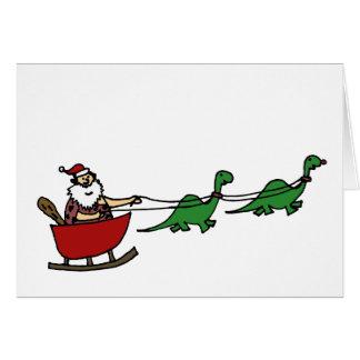 Cartão Homem das cavernas engraçado Papai Noel