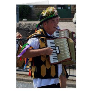 Cartão Homem de Harthill Morris, parada de carnaval de