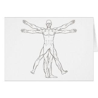 Cartão Homem de Vitruvian do estilo de da Vinci