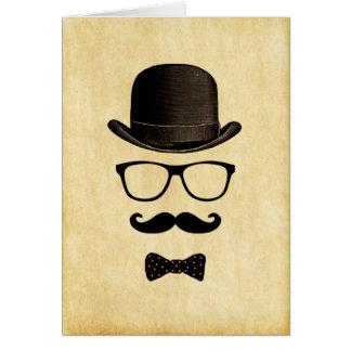Cartão Homem do Moustache do vintage/hipster