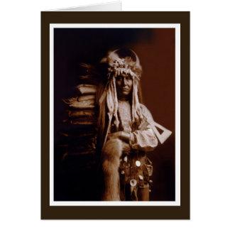 Cartão Homem do pombo do nativo americano