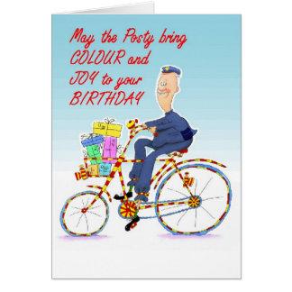 Cartão homem na bicicleta como o carteiro Z 7x5ins.jpg