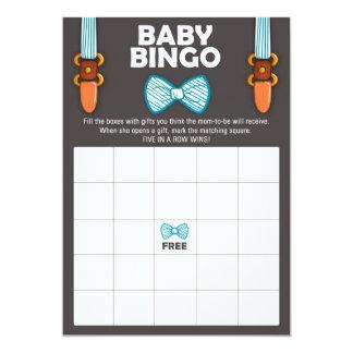 Cartão Homem pequeno do bebé do laço do Bingo do chá de