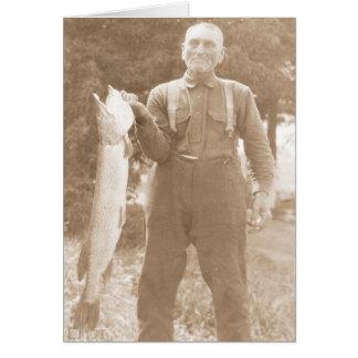 Cartão Homem que guardara um peixe