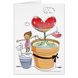 Cartão Homem que molha uma planta potted