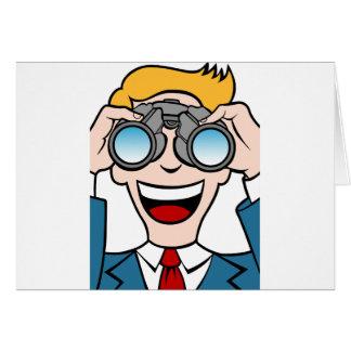 Cartão Homem que usa binóculos