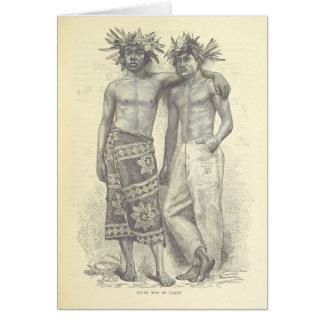 Cartão Homens novos de Tahiti