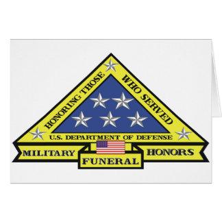 Cartão Honras fúnebres militares