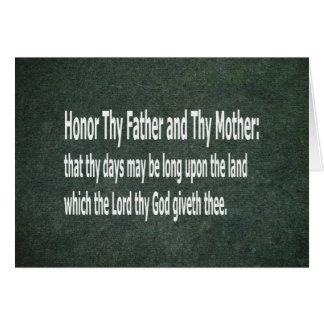 Cartão Honre Thy pai e Thy mãe
