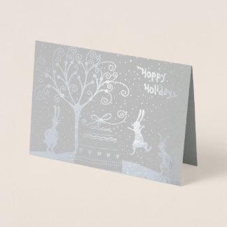 Cartão Metalizado Cartão Hoppy do Natal dos feriados da folha de
