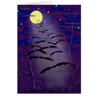 Cartão Hora Bewitching com a lua e os bastões amarelos