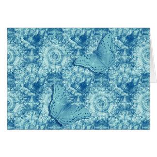 Cartão horizontal azul das borboletas