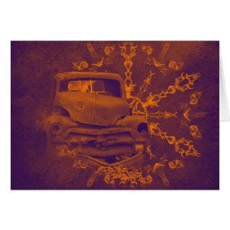Cartão horizontal do carro oxidado abstrato