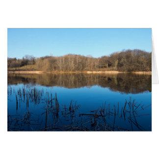 Cartão Horizonte do primavera do parque e da lagoa de