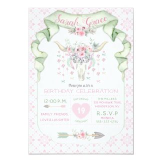 Cartão Hortelã cor-de-rosa das setas florais tribais dos