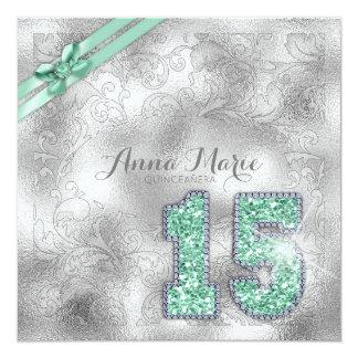 Cartão Hortelã de prata ID382 do aniversário de