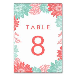 Cartão Hortelã e número floral moderno coral da mesa do c