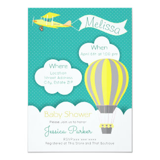 Cartão Hot air balloon baby shower invitation