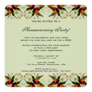 Cartão Housewarming do vintage, flores florais dos