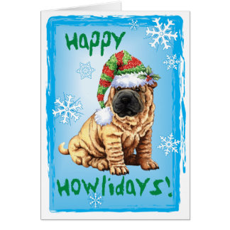 Cartão Howliday feliz Shar-Pei