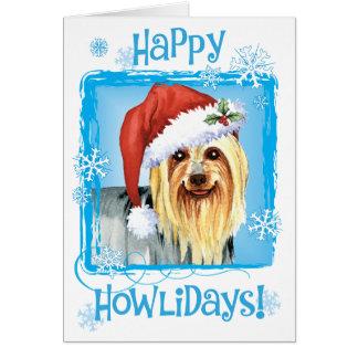 Cartão Howlidays feliz Terrier de seda