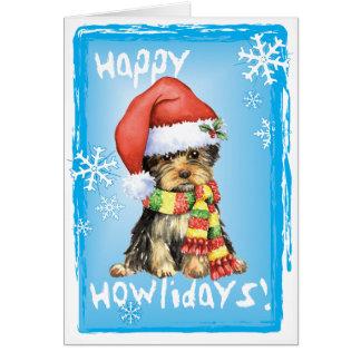 Cartão Howlidays feliz Yorkie