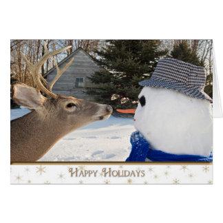 Cartão Humor do feriado do boneco de neve