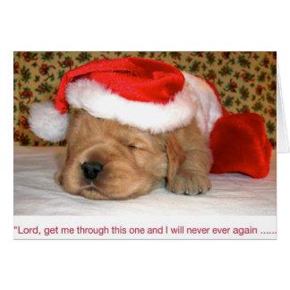 Cartão Humor do Natal, filhote de cachorro do golden