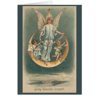 Cartão húngaro do Natal dos anjos do vintage