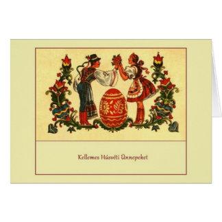 Cartão húngaro retro da páscoa