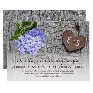 Cartão Hydrangea & coração azuis, monograma no casamento