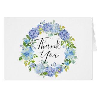 Cartão Hydrangeas azuis WreathThank floral da aguarela