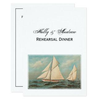 Cartão Iate náuticos do vintage que competem o jantar de