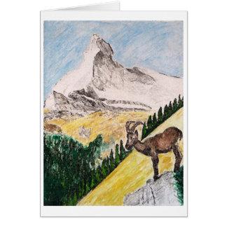 Cartão Íbex Overviewing Matterhorn