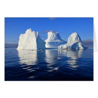 Cartão Iceberg árticos nota vazia azul e do branco da