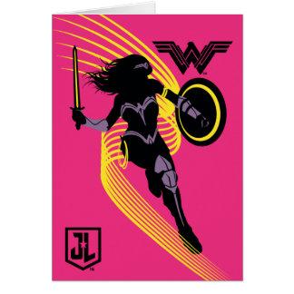 Cartão Ícone da silhueta da mulher maravilha da liga de