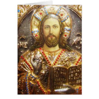 Cartão Ícone ortodoxo do senhor Jesus Cristo