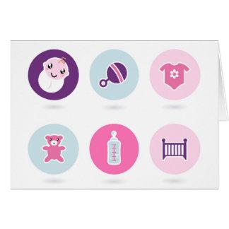 Cartão Ícones desenhados mão do bebê: Loja criativa do