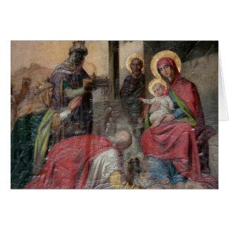 Cartão Icongraphy ortodoxo sérvio na igreja de Valjevo. -