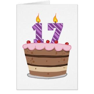 Cartão Idade 17 no bolo de aniversário
