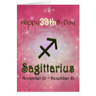 Cartão Idade do feliz aniversario do Sagitário da cor da