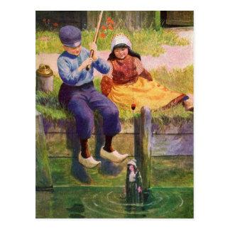 Cartão ido crianças de Fishin do vintage