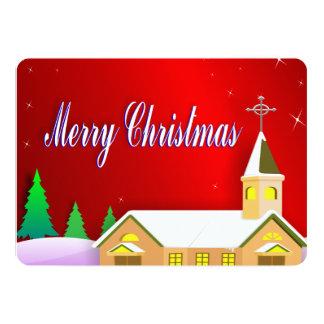 Cartão Igreja calma vermelha nevado do inverno do Feliz