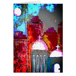 Cartão Igreja cor-de-rosa da cidade
