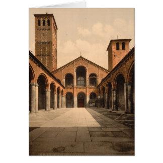 Cartão Igreja de Ambrosius da rua, Milão, Lombardy,