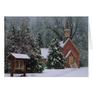Cartão Igreja de Yosemite na neve