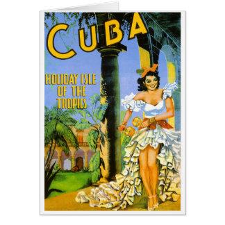 Cartão Ilha do feriado de Cuba do poster de viagens dos